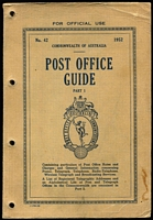 Lot 146 [1 of 2]:Australia: 1952 Post Office Guide Parts 1 & 2, part 1 has punch holes near spine, not affecting the text & part 2 has a list of all the Post & Telegraph Offices. A great resource for the postal historian or postmark collector. (2)