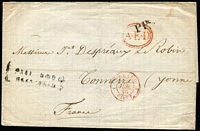 Lot 1650 [1 of 2]:1840 (Jun 25) outer from St Petersburg to Tonnerre, France, red double-oval 'A·E·D' and black 'PP' on face, fine 'TONNERRE' arrival on back.