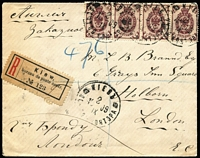 Lot 1654 [1 of 2]:1909 (Sep 19) use of 5k purple strip of 4 on registered cover from Kiev to London