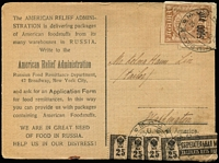 Lot 1706:1922 (Apr 20) use of 5000r on 2r light brown and 25r black/rose Postal Savings stamps x4 on American Relief Administration postcard, from Moscow to Washington.