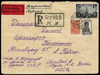 Lot 1711 [1 of 2]:1935 (Nov 20) use of 30k Wireless Tower and 5k & 30k on registered express cover from Gorkii to Denmark.