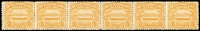 Lot 1449:1907 Large Canoes 2½d orange-yellow horizontal strip of 6 on annotated page noting the transfer varieties etc. A few tonespots. Scarce multiple.