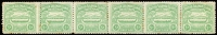 Lot 1455:1907 Large Canoes 5d emerald-green horizontal strip of 6 [stamps 31-36] on annotated page noting the transfer varieties etc. A few tonespots. Scarce multiple.