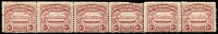Lot 1515:1907 Large Canoes 6d chocolate horizontal strip of 6 [stamps 49-54] on annotated page noting the transfer varieties etc. A few tonespots. Scarce multiple.