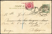 Lot 1439:1904 (Feb 22) use of ½d KEVII on PPC from Johannesburg to Belgium, underpaid & 10c PDue applied at Brussels.