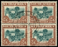 Lot 1474:1930-44 Pictorials 2/6d blue-green & brown block of 4 SG #49, odd nibbled perf, fine central 1940 Braemar cds, Cat £240+.