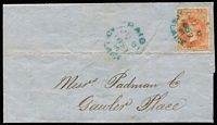 Lot 1066:1859 (Jun 6) use of 2d red First Roulette on entire from Adelaide to Gawler, printed message from bank inside.