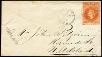 Lot 1067:1864 (Aug 20) use of 2d bright vermilion on cover to North Adelaide, 'TOO LATE' handstamp on face.