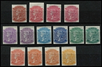 Lot 1028 [2 of 2]:1868-76 DLR 2d imperforate colour trials in an array of colours on ungummed Crown/SA paper, many are marginal examples from the top of the sheets. A beautiful group. (15)