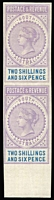 Lot 1034:1886-96 'POSTAGE & REVENUE' 2/6d lilac & blue imperf plate proof marginal vertical pair on gummed unwmked paper from the bottom of the sheets, full MUH. Superb! [Only one sheet of 60 was prepared.]