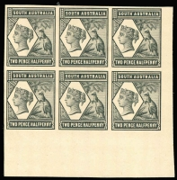 Lot 1037 [2 of 2]:1894-1906 Tannenberg Imperforate Plate Proof 2½d & 5d marginal blocks of 6 in black on thin card. (2 blocks)