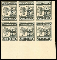 Lot 1037 [1 of 2]:1894-1906 Tannenberg Imperforate Plate Proof 2½d & 5d marginal blocks of 6 in black on thin card. (2 blocks)