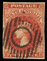 Lot 1040:1855 Imperf London Printing 2d rose-carmine SG #2, Cat £85 (retail c$250). Four clear margins, neat 13-bar void circle (Adelaide) cancel.