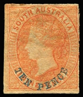 Lot 1047:1860-69 Second Roulettes 'TEN PENCE' in blue on 9d red-orange, SG #35, rouletting at top & right and otherwise cut from the sheet to preserve the design, large-part og, Cat £550. A fine example of this rare stamp.