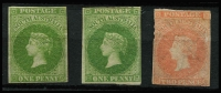 Lot 1045 [2 of 2]:1860-69 Second Roulettes 1d bright yellow-green x2 shades, 2d pale red & 2d bright vermilion, all MNG & cut square, Cat £680. (4)