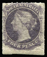 Lot 1046:1860-69 Second Roulettes 4d dull violet, SG #27, imperf at base, mint, Cat £170.