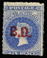 Lot 1071:Barracks Department Red 'B.D.' on 6d dull ultramarine, nearly full og. Rated 4R.