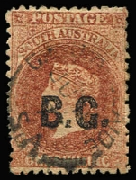 Lot 1072:Botanic Gardens Black 'B.G.' on 1/- red-brown Perf 11½-12½, GPO cds. Rated 4R.