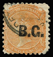 Lot 1073:Botanic Gardens Black 'B.G.' on 2d orange DLR V/Crown P10, rounded corner. Rated 3R.