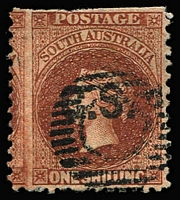 Lot 1076:Chief Secretary Black 'C.S.' on 1/- red-brown wmk Star P12, an large stamp but with trimmed perfs at top, null circle-in-bars cancel. Rated 5R.
