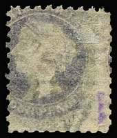 Lot 1077 [2 of 2]:Chief Secretary Black 'C.S.' on 4d dull purple Wmk V/Crown Printed on Both Sides (SG #111a Cat £4,250), a couple of shortish perfs, violet mark on the reverse. Rated 5R, 1871 Adelaide cds. RPSV Certificate (2006).