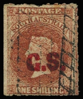 Lot 1075:Chief Secretary Red 'G.S.' (Error for 'C.S.') on 1/- brown Wmk Star Roulette, a large stamp cut from the sheet at left to preserve the design, Adelaide roller cancel. Rated 4R. RPSV certificate (2009).