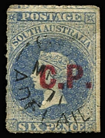 Lot 1082:Commissioner of Police Red 'C.P.' on 6d dull blue wmk Star Roulette, late use with GPO cds of MR-/71. Rated 2R.