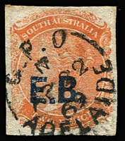 Lot 1097:Education Board Blue 'E.B.' on 2d orange DLR Wmk Crown/SA Roulette, 1869 Adelaide cds. Rated 4R.