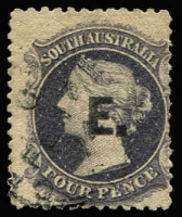 Lot 1102:Engineer Black 'E' on 4d dull purple Large Star P12, 1874 Adelaide cds, Rated R.