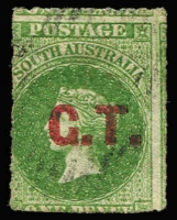 Lot 1103:Goolwa Tramway Red 'G.T.' on Rouletted 1d yellow-green, indistinct cancellation. Rated 2R.