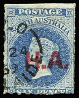 Lot 1112:House of Assembly Red 'H.A.' on 6d dull ultramarine wmk Star Roulette. 1869 Adelaide cds. Rated 2R.