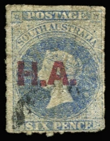 Lot 1113:House of Assembly Red 'H.A.' on 6d dull ultramarine wmk Star Roulette. A few creases. Rated 2R.