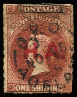 Lot 1114:House of Assembly Red 'H.A.' on 1/- brown wmk Star Roulette. 1875 Adelaide cds. Rated 2R.