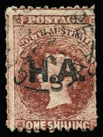 Lot 1115:House of Assembly Black 'H.A.' on 1/- brown wmk Star P12. Adelaide cds. Rated R.