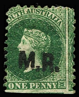 Lot 1124:Manager of Railways Black 'M.R.' on 1d green wmk Star P10, bottom edge cut from sheet, part og. Rated 5R.