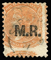 Lot 1125:Manager of Railways Black 'M.R.' on 2d orange DLR wmk Crown/SA P10, badly off-centre, shallow thin, 1871 cds. Rated R.