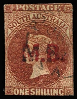 Lot 1126:Marine Board Red 'M.B.' on 1/- brown wmk Star Roulette, trimmed close, light cds. Rated 3R.