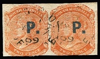 Lot 1134:Police Blue 'P.' on 2d orange DLR wmk Crown/SA apparently imperf horizontal pair, 1869 Adelaide cds. Rated 4R+. [There is no sign of any roulettes but the rouletted issue occurs with both imperf between horizontally and vertically.]
