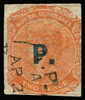 Lot 1133 [1 of 2]:Police Blue 'P.' on 2d orange DLR wmk Crown/SA roulette printed on both sides (SG 153a Cat £700), Adelaide cds. Rated 4R+.