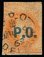 Lot 1138:Post Office Blue 'P.O.' on 2d vermilion wmk Star Roulette, the roulettes grossly misplaced - the vertical roulettes pass through the 'O.' - so cut from the sheet, a couple of tiny defects. Rated 4R.