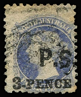 Lot 1143:Private Secretary Black 'P.S.' on 4d dull ultramarine wmk Star P10, poor numeral cancel. Rated R.