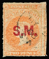 Lot 1159:Stipendiary Magistrate Red 'S.M.' on 2d vermilion wmk Star Roulette, 1868 cds. Rated 2R.