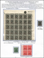 Lot 1532 [3 of 3]:1917-22 'G.E.A' Overprints [1] 1917-21 mixed mint & used 1c to 5r, [2] 1922 1c black plate & sheet number block of 30 & 10c orange corner block of 6, SG #45-59,72-3, Cat £200. (16 items)