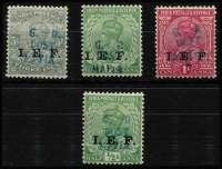 Lot 1530 [2 of 2]:1915-16 'G.R./POST/MAFIA' On IEF Stamps 3p (dull blue) ½a x2 (dull blue & green) 1a (dull blue) & 3a (green), SG #M33-5,M38, Cat £360. (5)