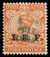 Lot 1530 [1 of 2]:1915-16 'G.R./POST/MAFIA' On IEF Stamps 3p (dull blue) ½a x2 (dull blue & green) 1a (dull blue) & 3a (green), SG #M33-5,M38, Cat £360. (5)