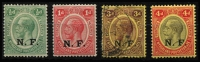 Lot 1531 [2 of 2]:1916 'N.F.' On Nyasaland mint set, 3d cancelled with FPO 3 datestamp, SG #N1-5, Cat £110. (5)
