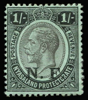 Lot 1531 [1 of 2]:1916 'N.F.' On Nyasaland mint set, 3d cancelled with FPO 3 datestamp, SG #N1-5, Cat £110. (5)