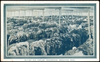 Lot 1064 [1 of 4]:1908 Franco-British Exhibition: [1] 'BRITISH AND FOREIGN WOOLBUYERS INSPECTING WOOL' in bluish-grey, light corner stain; [2] 'A TASMANIAN TIMBER MILL' in bluish-grey, violet 'TASMANIAN GOVERNMENT TOURIST/AND INFORMATION BUREAU/OCEAN HOUSE, MARTIN PLACE/...SYDNEY' handstamp on address side, damaged corners; [3] 'PREPARING POULTRY FOR EXPORT' in brown, repaired corner (3)