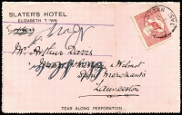 Lot 1060 [1 of 2]:1912 (Nov 17) use of 1d Roo on Slater's Hotel private letter card with nice photo of hotel on back. A few small faults but a scarce early item.