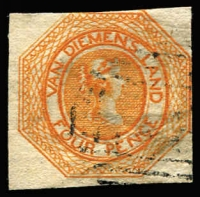 Lot 1187:1853 Imperf Courier Plate II 4d bright red-orange 2 good margins, others just touching or cut into slightly, SG #5, light BN cancel, Cat £1,000.